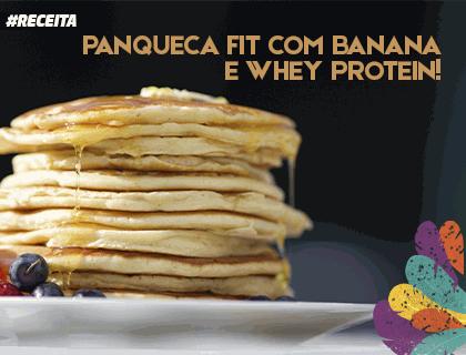 Receita de panqueca de whey protein com banana e baunilha