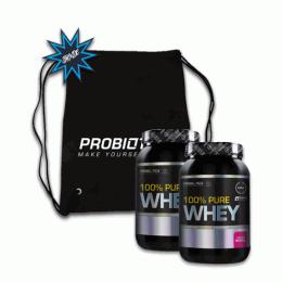 100% Pure Whey (900g) 2 unidades + Sacola TNT Probiótica